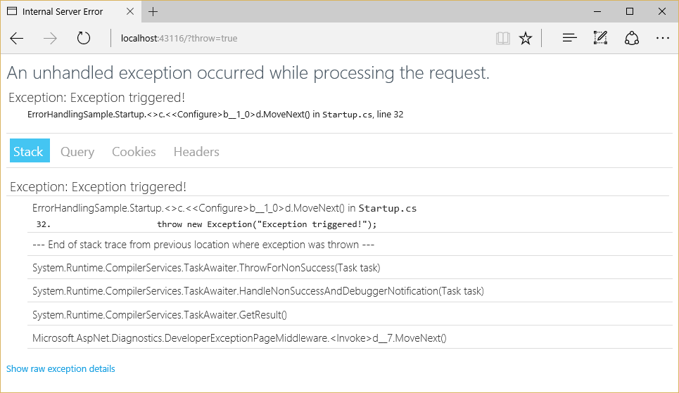 Error Handling — ASP NET documentation