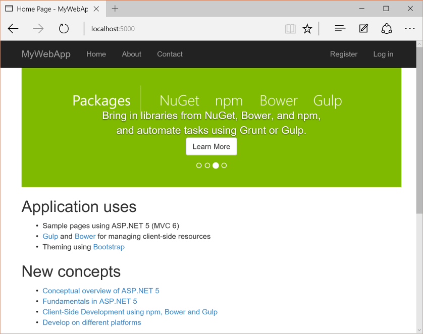 Building Projects with Yeoman — ASP NET documentation